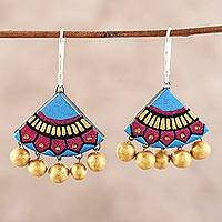 Ceramic chandelier earrings, 'Creative Pyramids' - Colorful Ceramic Chandelier Earrings from India