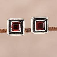 Garnet stud earrings, 'Fire Frame' - Faceted Garnet Square Stud Earrings from India