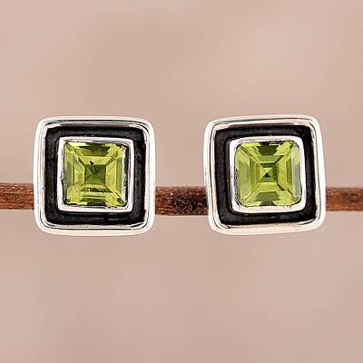 Peridot stud earrings, 'Verdant Frame' - Square Peridot Stud Earrings from India