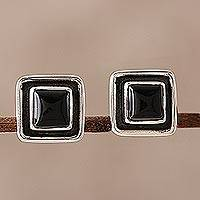Onyx stud earrings, 'Midnight Frame' - Square Onyx Stud Earrings from India