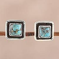 Sterling silver and composite turquoise stud earrings, 'Mystic Frame' - Square Sterling Silver and Composite Turquoise Stud Earrings