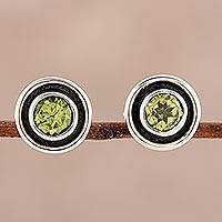 Peridot stud earrings, 'Graceful Frames' - Circular Peridot Stud Earrings from India