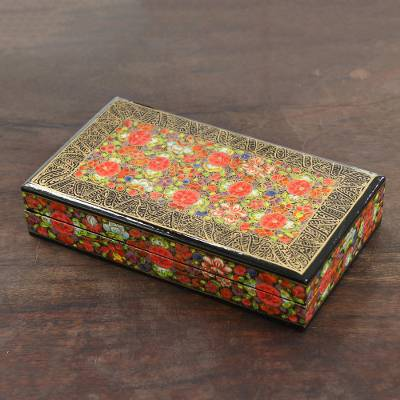 Papier mache decorative box, 'Floral Intricacy' - Floral Motif Papier Mache Decorative Box from India