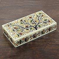 Papier mache decorative box, 'Chinar Flair' - Chinar Leaf Motif Papier Mache Decorative Box from India