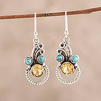 Citrine dangle earrings, 'Dazzling Intrigue' - Citrine and Composite Turquoise Dangle Earrings from India