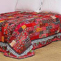 Cotton patchwork quilt, 'Floral Bliss' (king) - Floral Cotton Patchwork Quilt in Red from India (King)