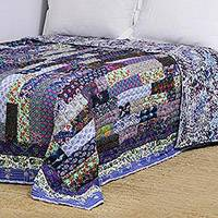 Cotton patchwork quilt, 'Blue Charisma' (king) - Floral Cotton Patchwork Quilt in Blue from India (King)
