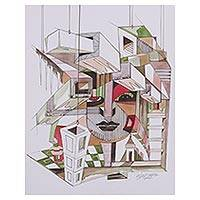 'Materialism' - Colorful Modern Cubist Painting from India