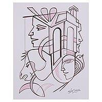 'Modern Life' - Modern Black and White Cubist Painting from India