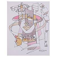 'Sky the Limit' - Signed Modern Cubist Painting by an Indian Artist