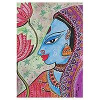 'Radha' - Signed Watercolor Painting of Radha from India