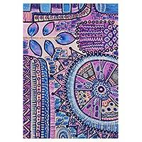 'Indian Folklore' - Signed Blue and Purple Abstract Painting from India