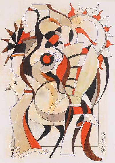 'Harmony' - Signed Cubist Painting in Beige and Red from India