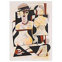 'Phase of Life' - Signed Cubist Painting in Beige from India
