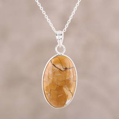 Agate pendant necklace, 'Earth Flair' - Brown Oval Agate Pendant Necklace Crafted in India