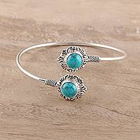 Sterling silver wrap bracelet, 'Turquoise Glam' - Sterling Silver and Recon. Turquoise Wrap Bracelet