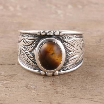 Tiger's eye band ring, 'Suave Earth' - Leaf Motif Tiger's Eye Band Ring from India