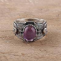 Amethyst and rainbow moonstone band ring, 'Peaceful Glimmer' - Amethyst and Rainbow Moonstone Band Ring from India