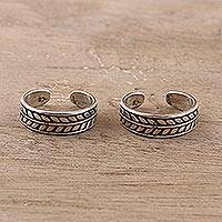 Sterling silver toe rings, 'Patterned Bliss' (pair) - Patterned Sterling Silver Toe Rings from India (Pair)