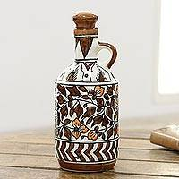 Ceramic bottle, 'Kujra Garden in Brown' - Hand-Painted Floral Ceramic Bottle in Brown from India