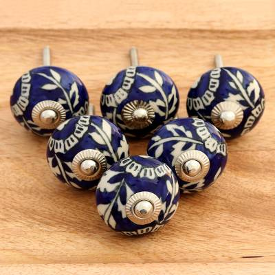 Ceramic knobs, 'Blue Homestead' (set of 6) - Blue Floral Ceramic Knobs from India (Set of 6)