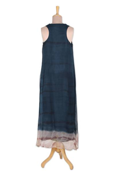 Tie-dyed viscose sundress, 'Delhi Azure' - Tie-Dyed Viscose Sundress in Azure from India