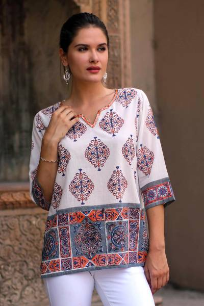Block-printed cotton tunic, 'Mughal Glory' - Block-Printed Cotton Tunic from India