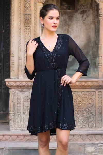 Beaded viscose dress, 'Georgette Glamour' - Embellished Viscose Dress from India