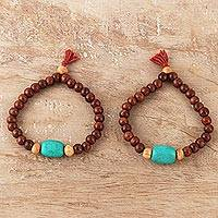 Wood and resin beaded stretch bracelets, 'Joy of Friendship' (pair) - Wood and Resin Beaded Stretch Bracelets from India (Pair)