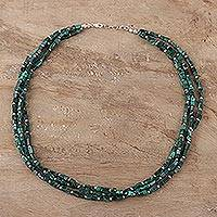 Malachite beaded strand necklace, 'Rectangle Glamour' - Natural Malachite Beaded Strand Necklace from India