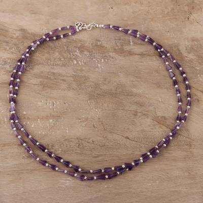 Amethyst beaded strand necklace, 'Magic Triangles' - Triangular Amethyst Beaded Strand Necklace from India