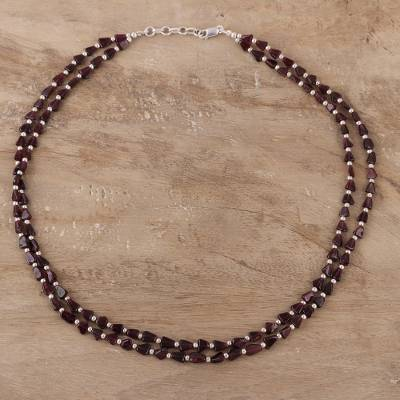 Garnet beaded strand necklace, 'Magic Triangles' - Triangular Garnet Beaded Strand Necklace from India