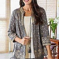 Block-printed cotton jacket, 'Paisley Elegance' - Paisley Motif Block-Printed Cotton Jacket from India