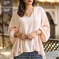 Cotton blend tunic, 'Peach Glamour' - Embroidered Cotton Blend Tunic in Peach from India