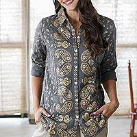 Block-printed cotton blouse, 'Golden Paisley' - Paisley Motif Block-Printed Cotton Shirt from India