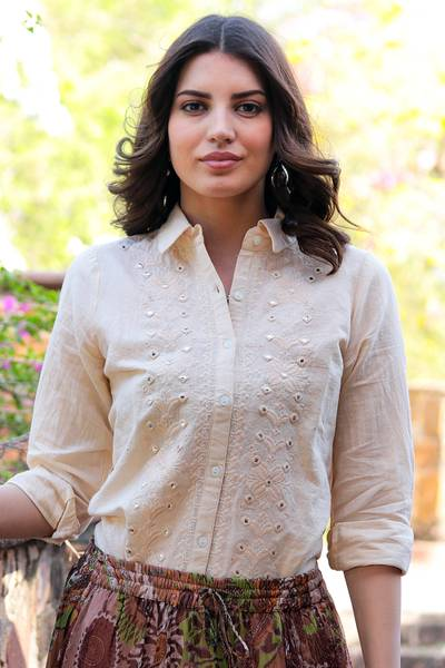 Cotton and linen blend tunic, 'Glimmering Elegance' - Embroidered Cotton and Linen Blend Tunic with Mirror Accents