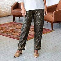 Block-printed cotton pants, 'Paisley Elegance' - Paisley Motif Block-Printed Cotton Pants from India