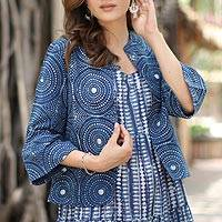Block-printed cotton jacket, 'Mesmerizing Indigo' - Circle Motif Block-Printed Cotton Jacket from India