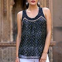 Block printed viscose chiffon tank top, 'Midnight Glory' - Floral Block-Printed Viscose Tank Top from India