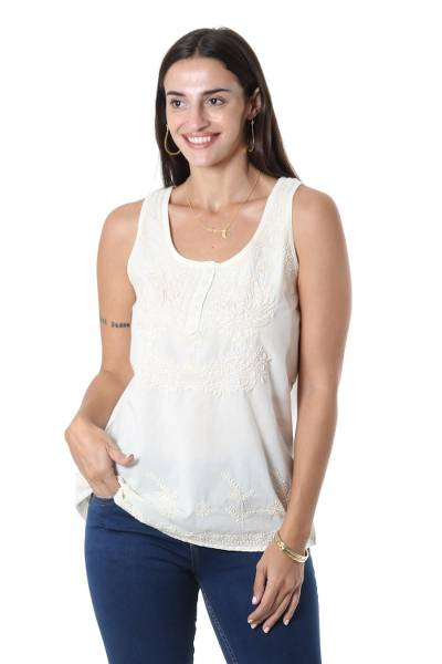 Cotton embroidered tank top 'Casual Elegance' - Ivory Sleeveless Cotton Top with Chikankari Embroidery