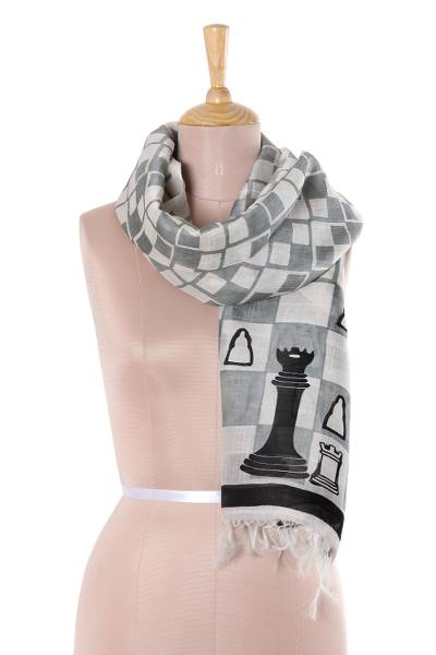 Silk scarf, 'Royal Game' - Chess-Themed Hand-Painted Silk Scarf from India