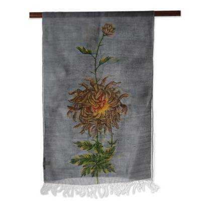 Silk scarf, 'Gorgeous Chrysanthemum' - Hand-Painted Chrysanthemum Design Silk Scarf from India