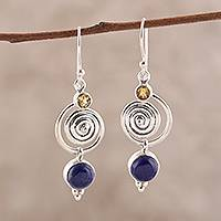 Lapis lazuli and citrine dangle earrings, 'Gemstone Swirl' - Swirl Pattern Lapis Lazuli and Citrine Dangle Earrings
