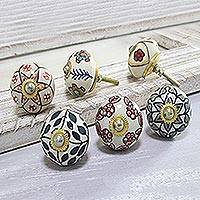 Ceramic knobs, 'Harmonious Flowers' (set of 6) - Colorful Floral Ceramic Knobs from India (Set of 6)
