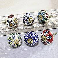 Ceramic knobs, 'Floral Union' (set of 6) - Floral Motif Ceramic Knobs from India (Set of 6)