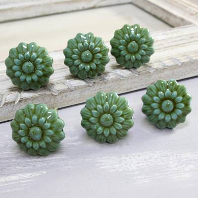 Ceramic knobs, 'Floral Green' (set of 6) - Green Floral Ceramic Knobs from India (Set of 6)