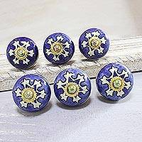 Ceramic knobs, 'Starry Brilliance' (set of 6) - Star Motif Ceramic Knobs from India (Set of 6)