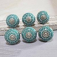 Ceramic knobs, 'Turquoise Layers' (set of 6) - Hand-Painted Ceramic Knobs in Turquoise (Set of 6)
