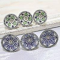 Ceramic knobs, 'Leafy Plates' (set of 6) - Blue and Green Leaf Motif Ceramic Knobs (Set of 6)