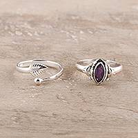 Amethyst and sterling silver rings, 'Royal Delight' (pair) - Amethyst and Sterling Silver Rings from India (Pair)